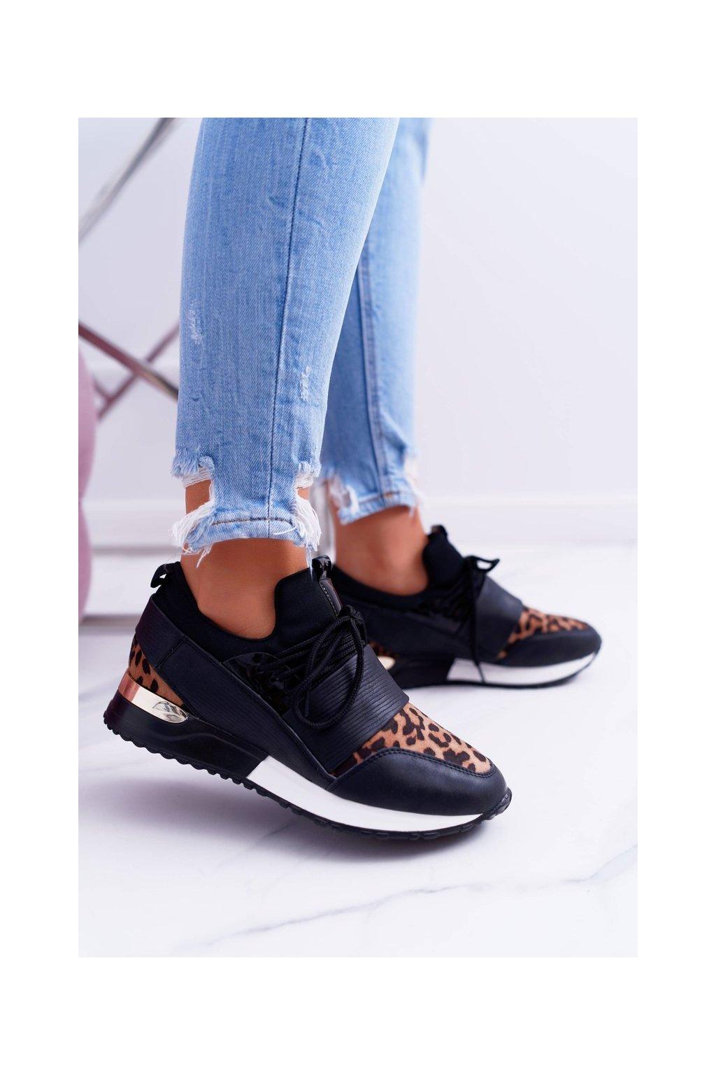 Dámske športové čierne topánky Leopard Elanco