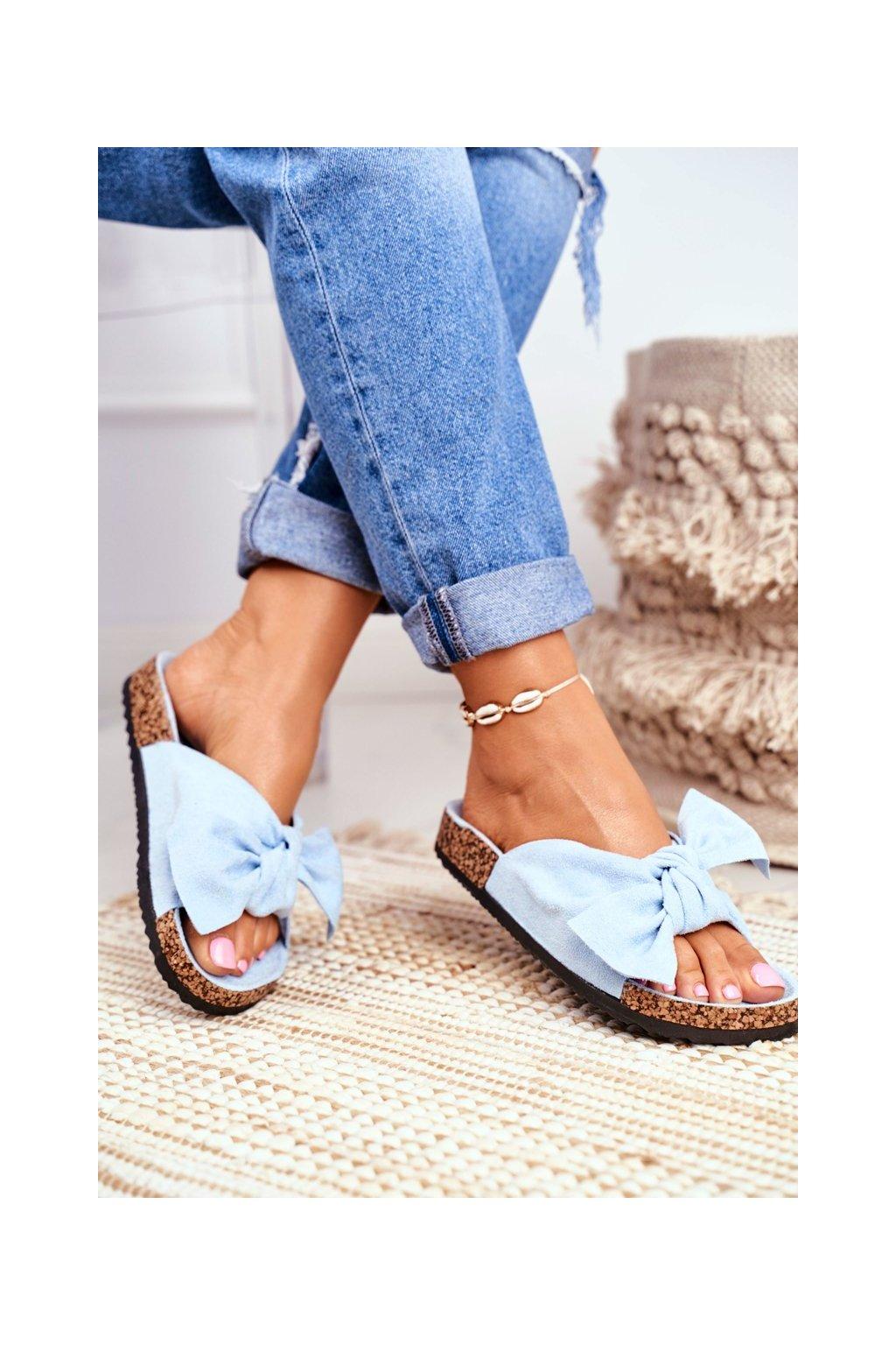Dámske šľapky farba modrá kód obuvi CK02P BLUE