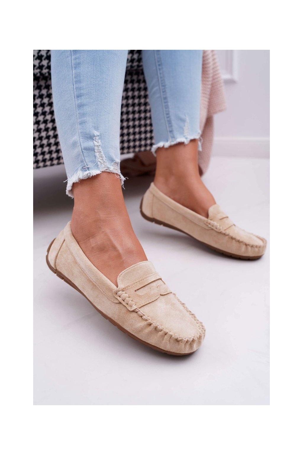 Dámske mokasíny farba hnedá kód obuvi T348 BEIGE