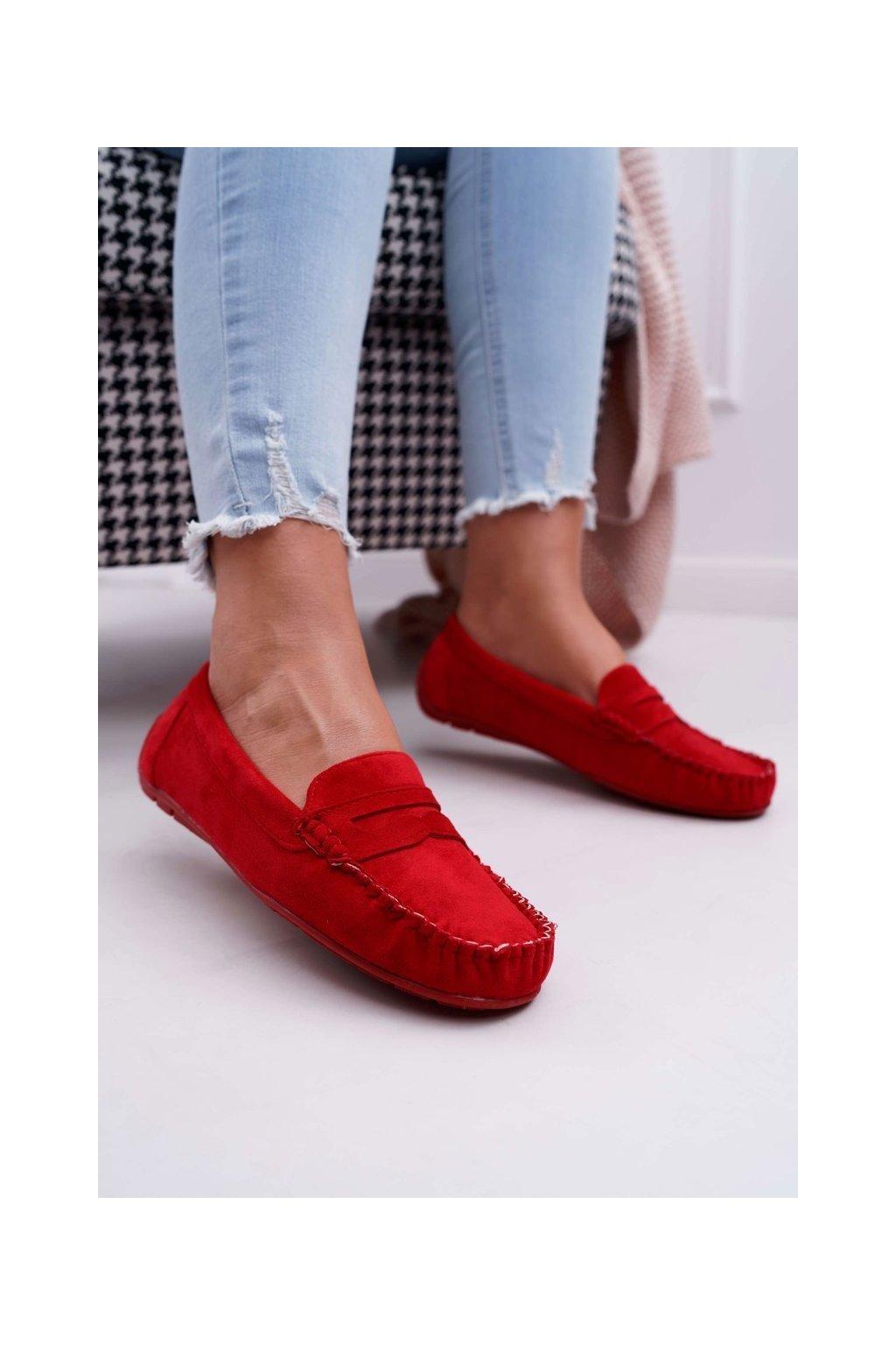 Dámske mokasíny farba červená kód obuvi T348 RED