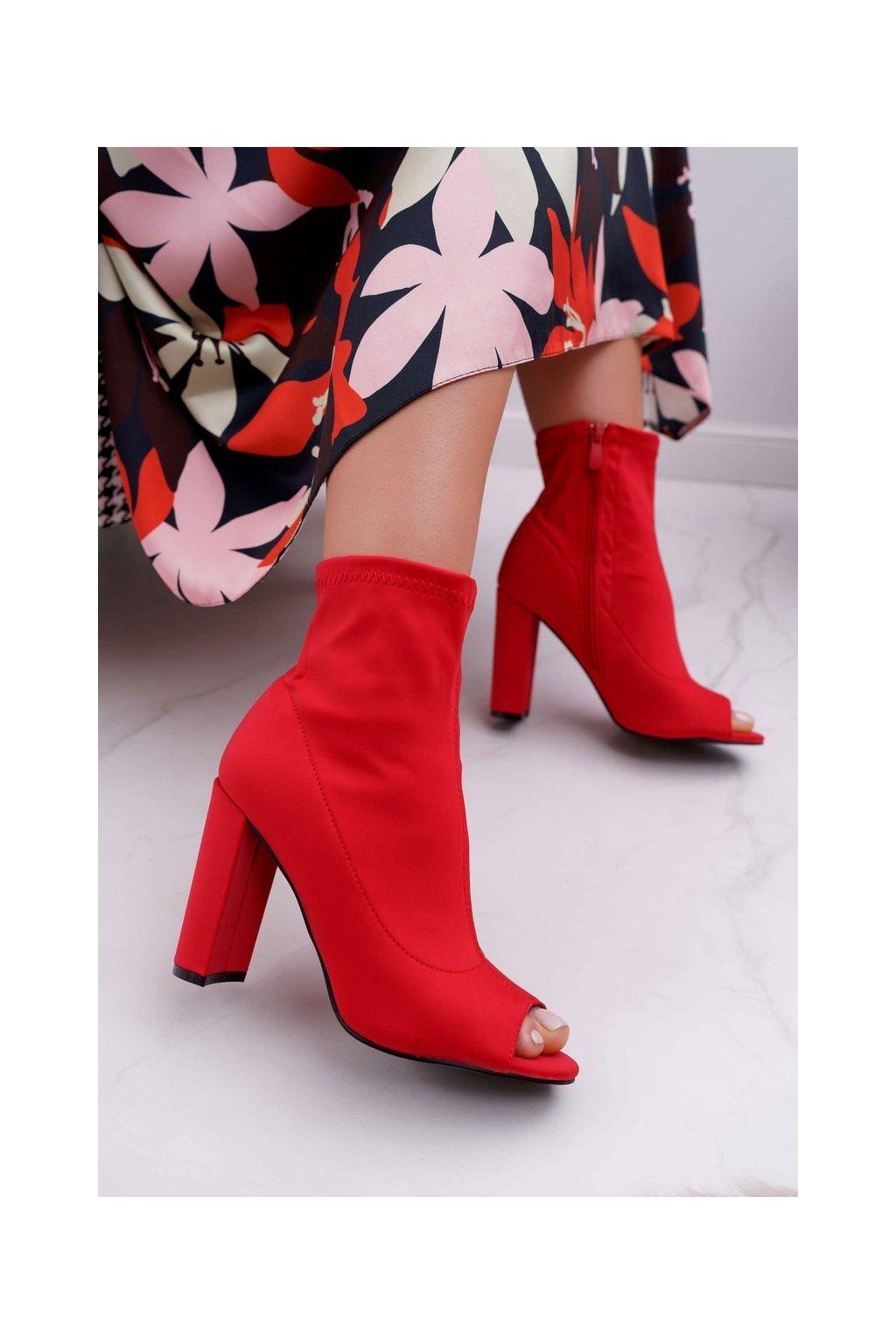 Členkové topánky na podpätku farba červená kód obuvi NS031P RED