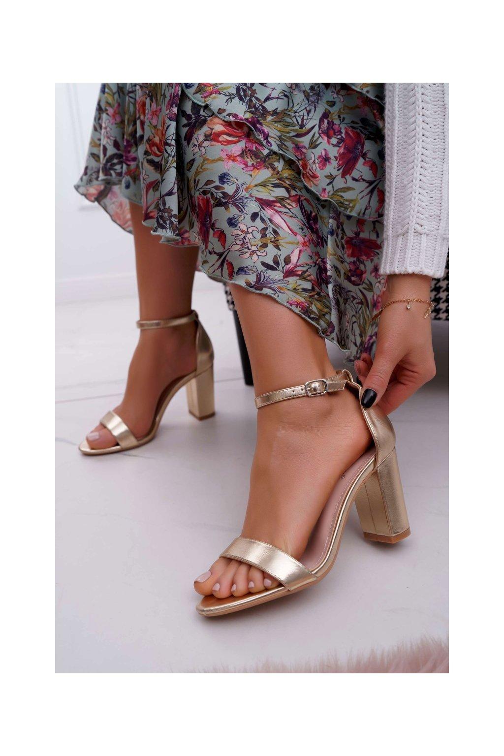 Dámske Sandále na podpätku Klasické Zlaté Fiji