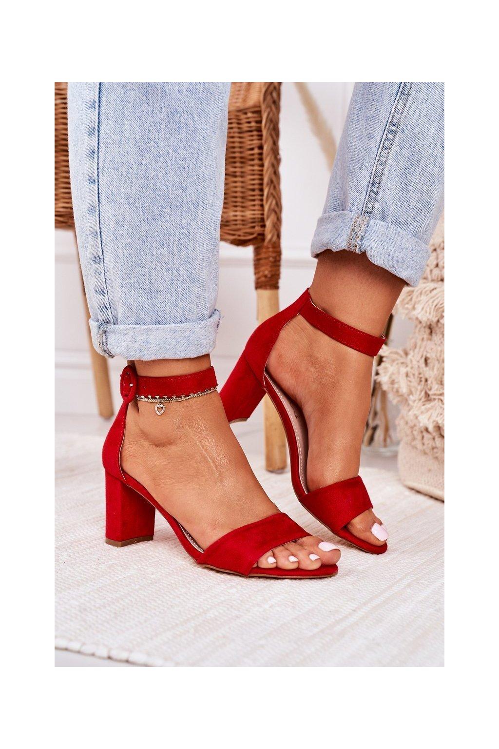 Dámske Sandále na podpätku Semišové Červené Lexi