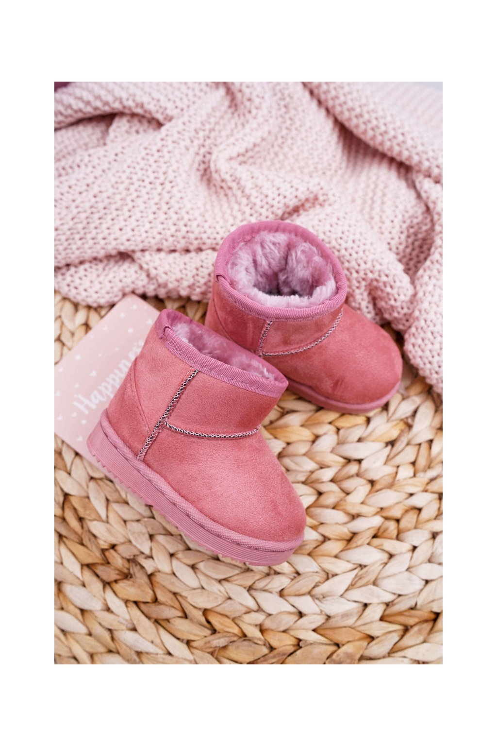 Detské zateplené snehule semišové ružové Gooby 20213-1A/2A PINK