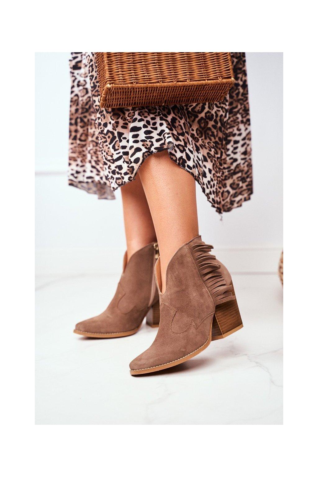 Členkové topánky na podpätku farba hnedá kód obuvi 2133 KHAKI 274