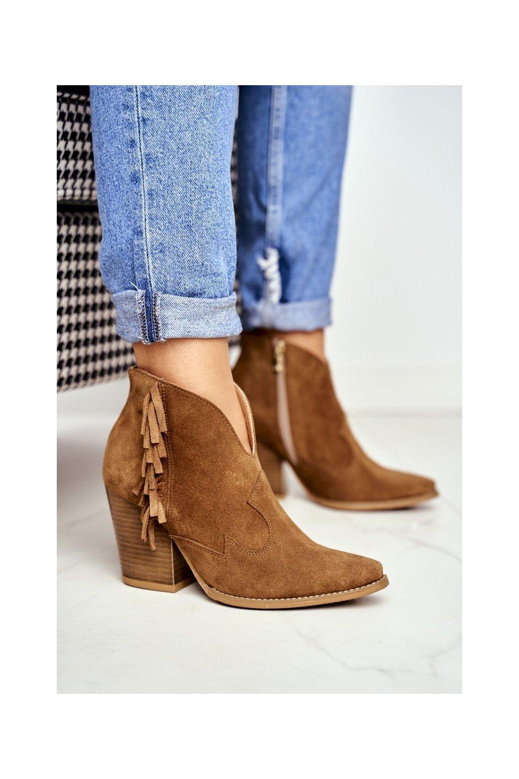 Členkové topánky na podpätku farba hnedá kód obuvi 2133 CAMEL 273