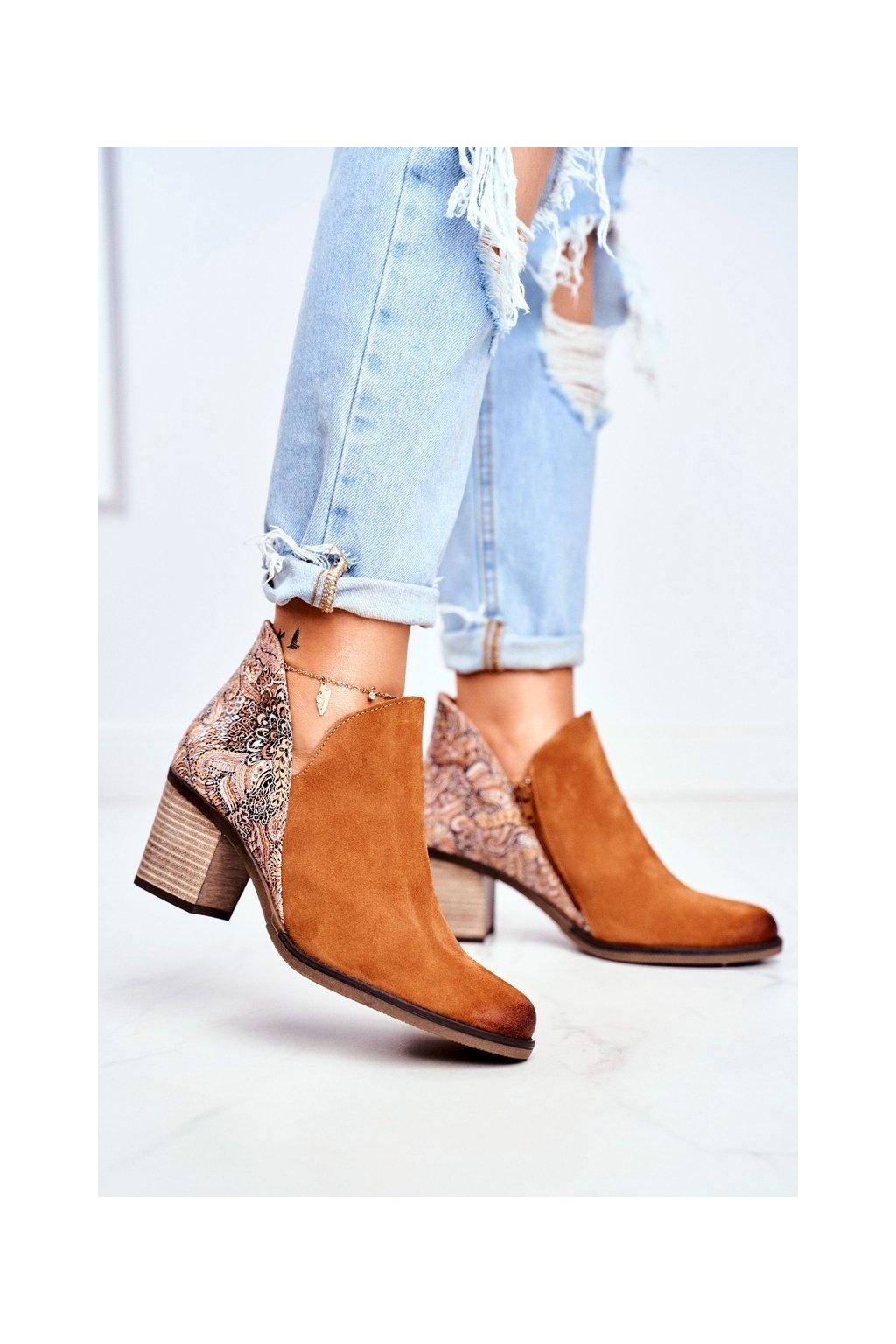 Členkové topánky na podpätku farba hnedá kód obuvi 04492-29/00-5 RUDE