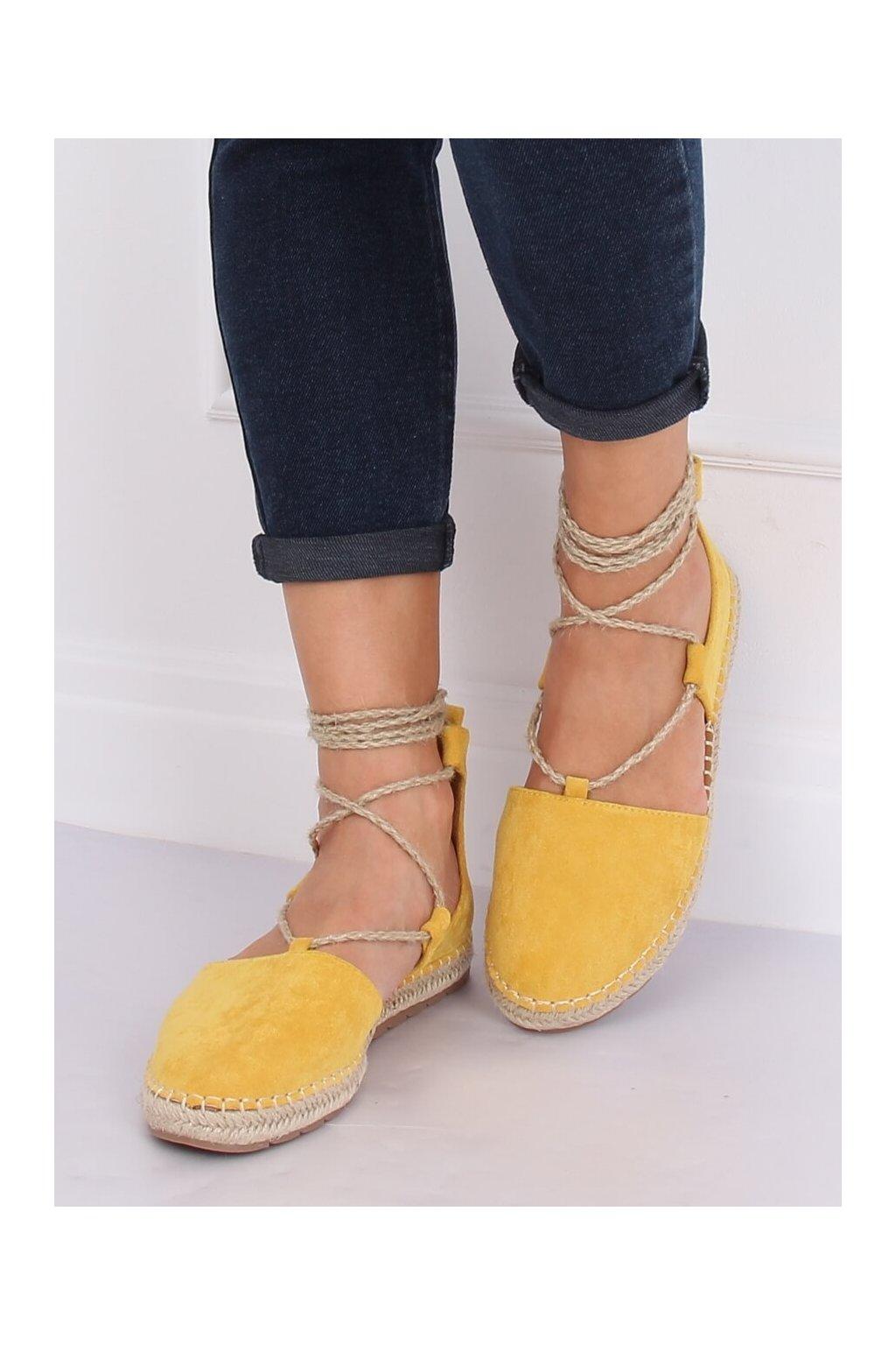 Dámske sandále žlté na plochom podpätku JH97P