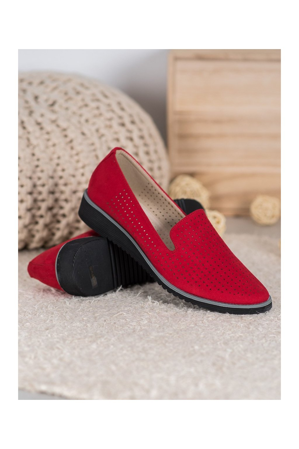 Červené dámske balerínky Goodin kod FL608R