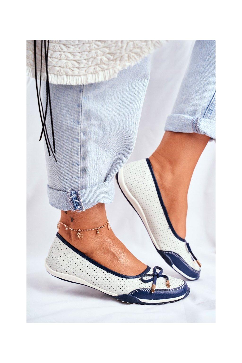 Dámske balerínky farba biela kód obuvi 8BL08-4005 WHITE/NAVY