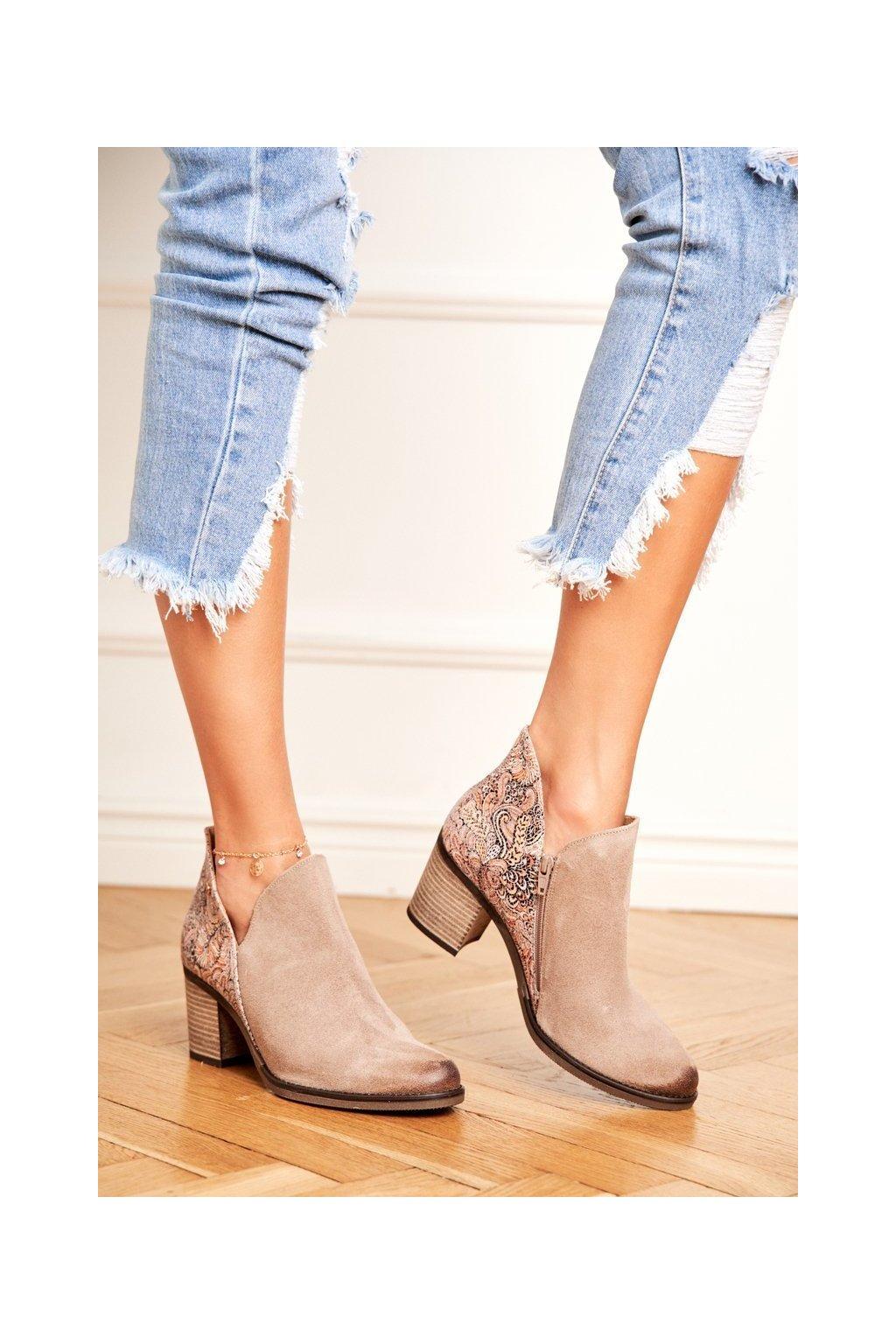 Členkové topánky na podpätku farba hnedá kód obuvi 04492-04/00-5 BEIGE