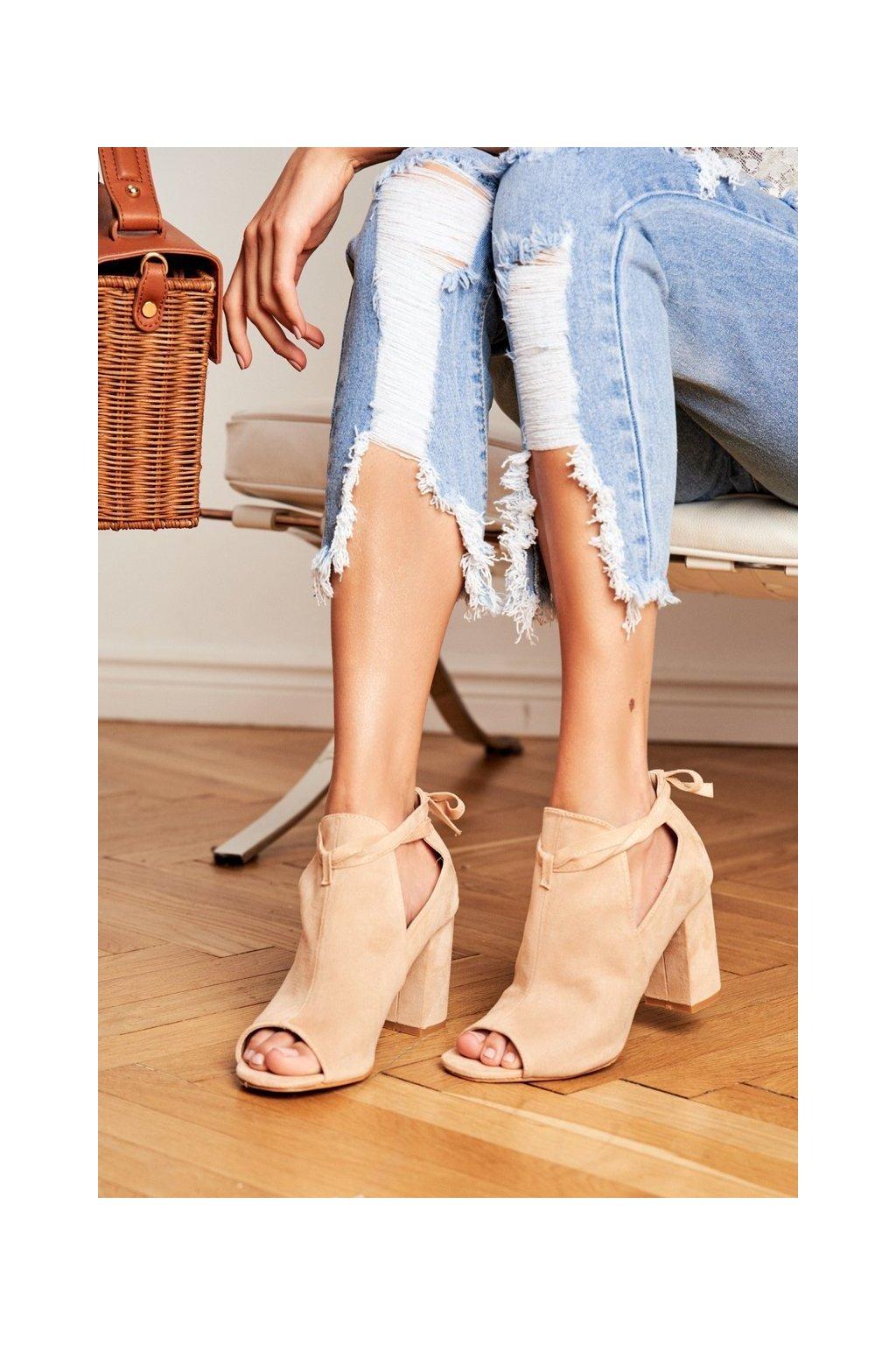 Dámske členkové topánky Peep Toe Béžové Grays