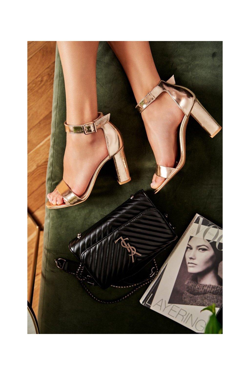 Dámske sandále na podpätku farba žltá kód obuvi 1760 863 GOLD