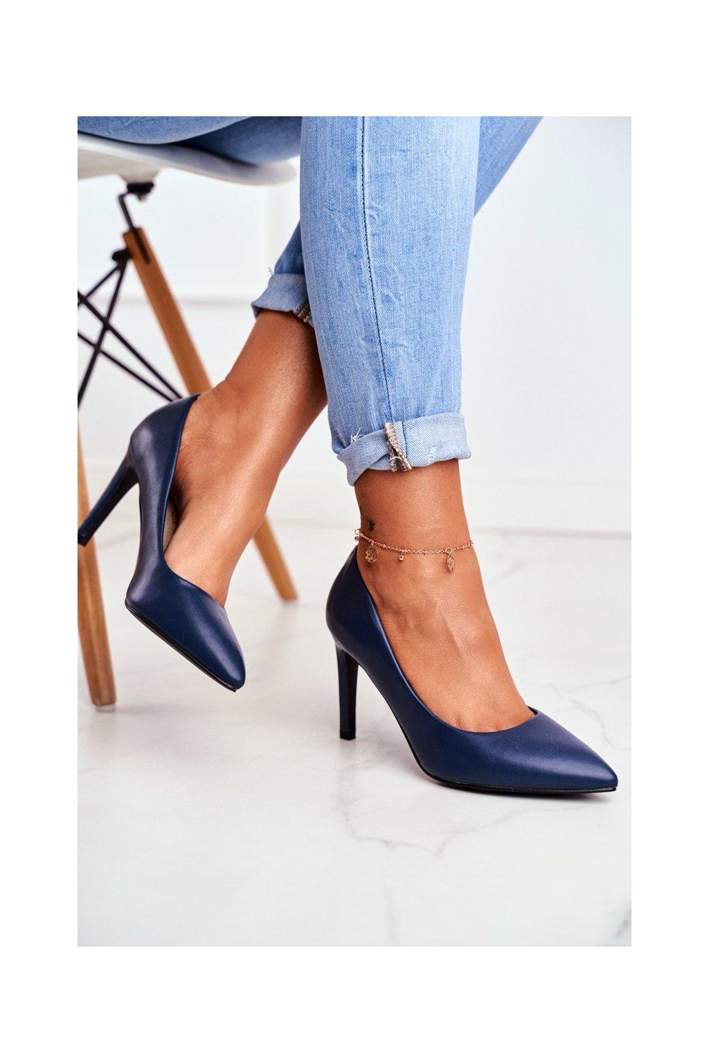 Dámske lodičky farba modrá kód obuvi 20-20110 NAVY