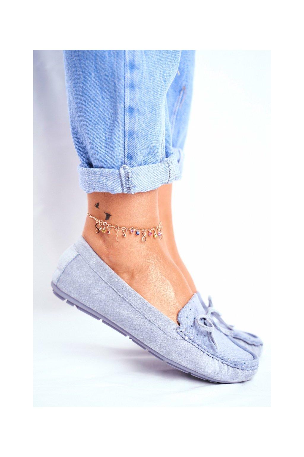 Dámske mokasíny farba modrá kód obuvi A199-C BLUE