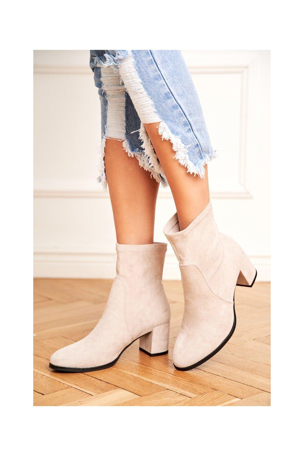 Členkové topánky na podpätku farba sivá kód obuvi BT150 GREY