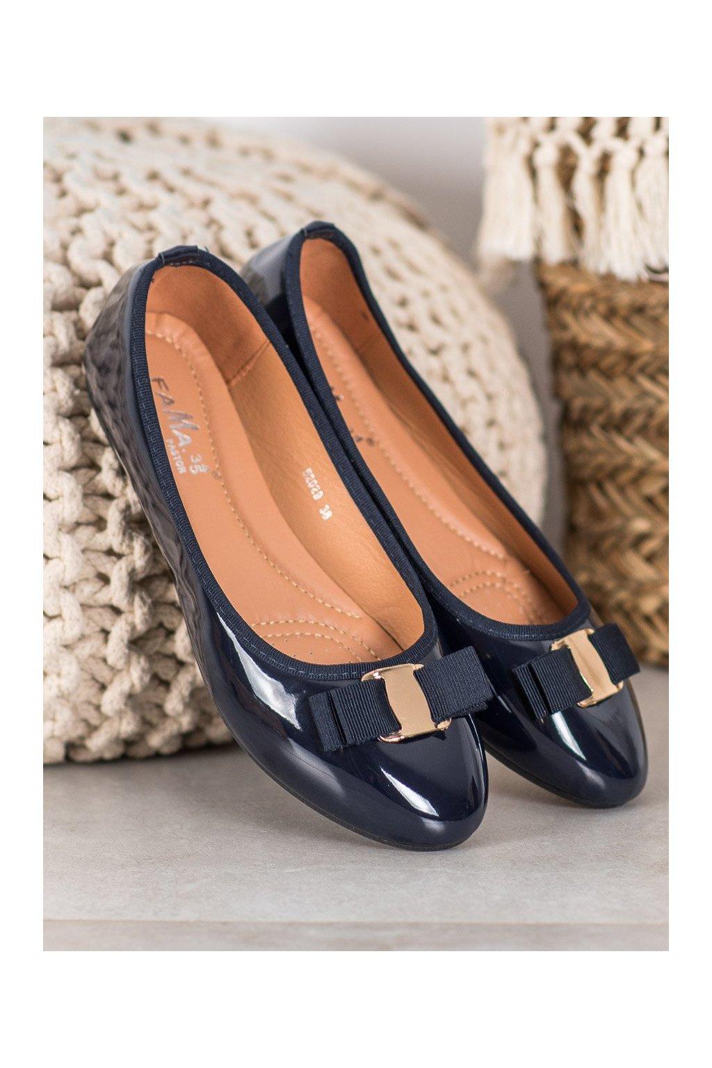 Modré dámske balerínky Fama kod B2029D.BL