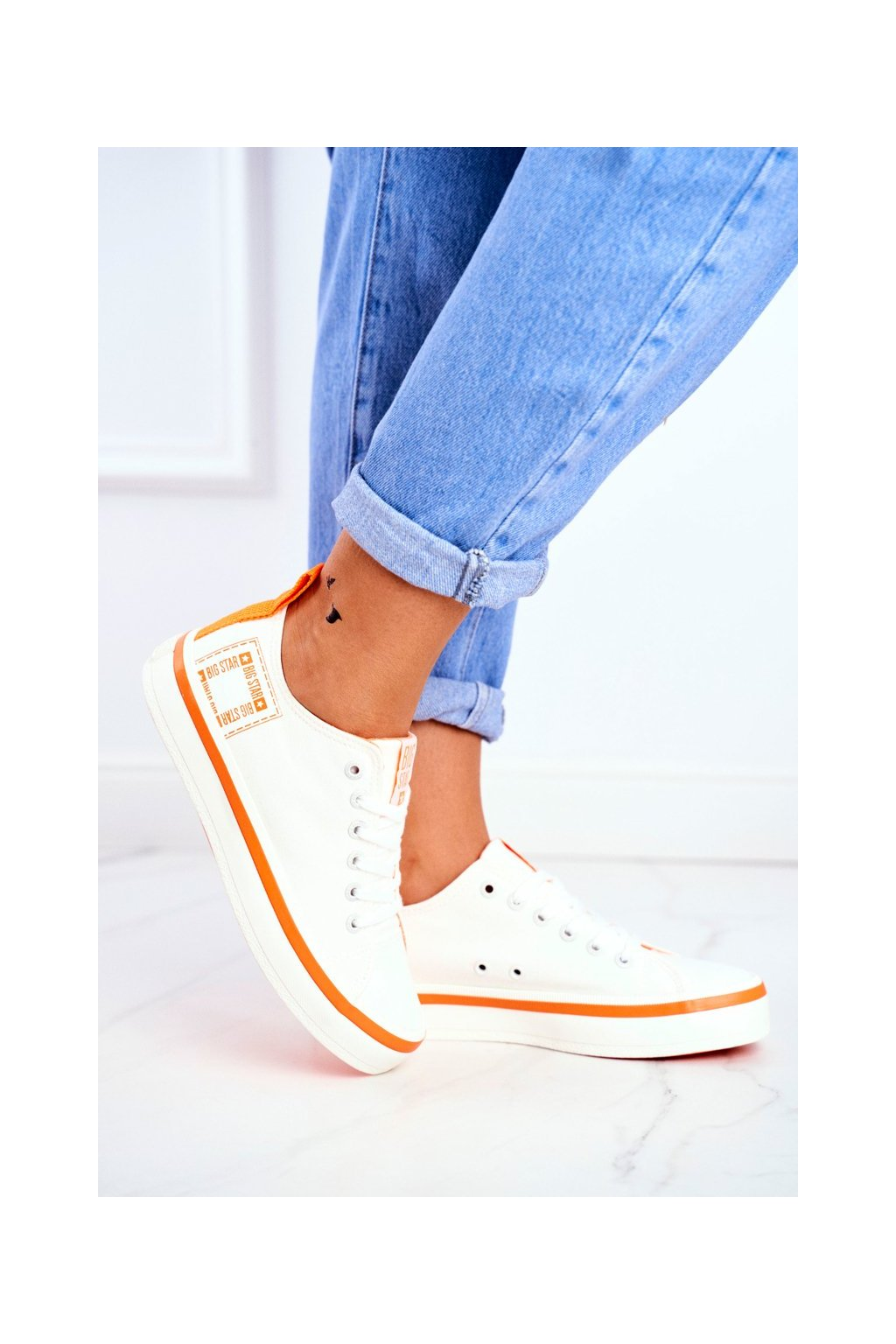 Dámske tenisky farba biela kód obuvi FF274A065 WHITE ORANGE