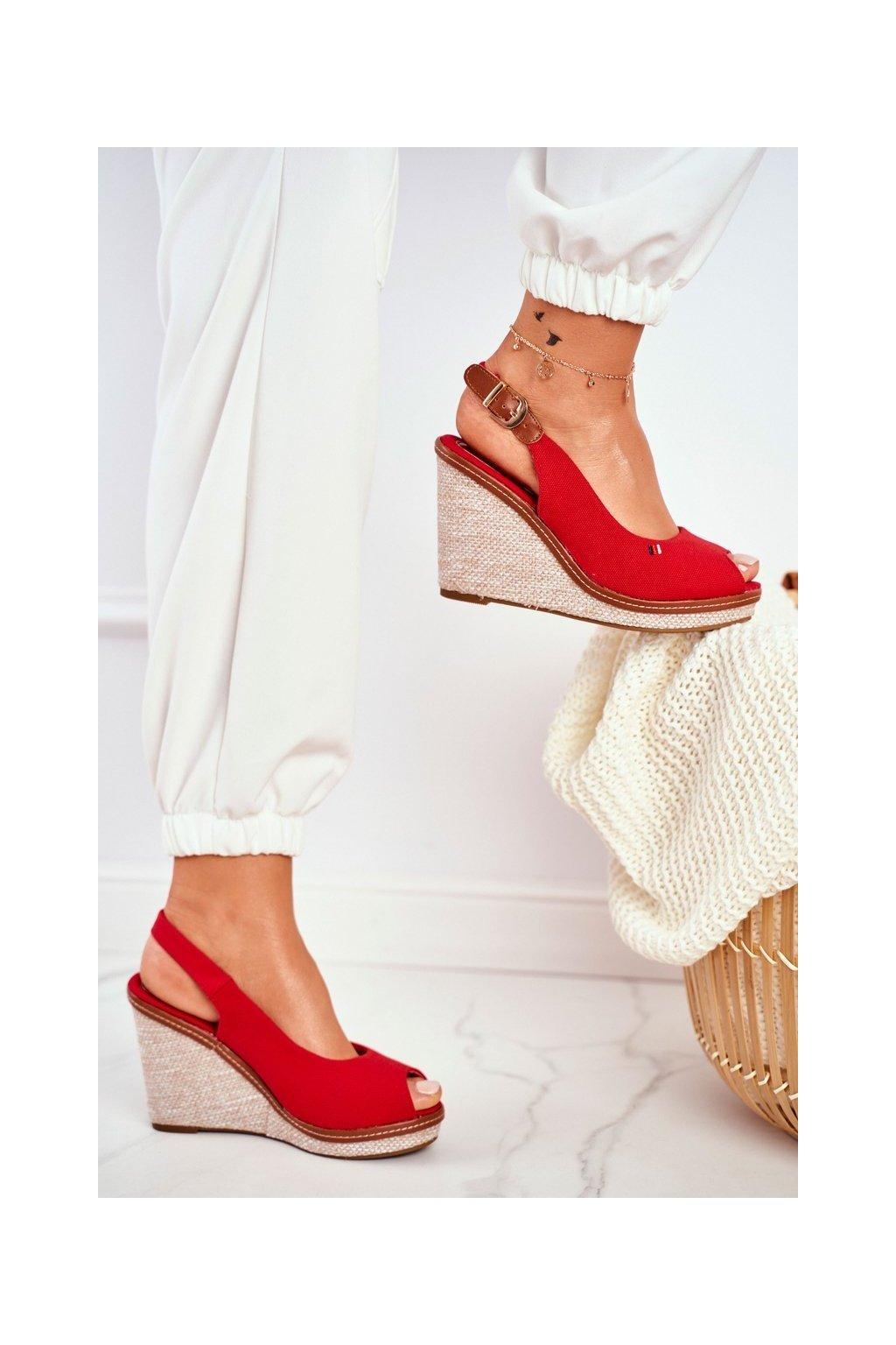 Dámske Sandále na platforme Červené Tommy