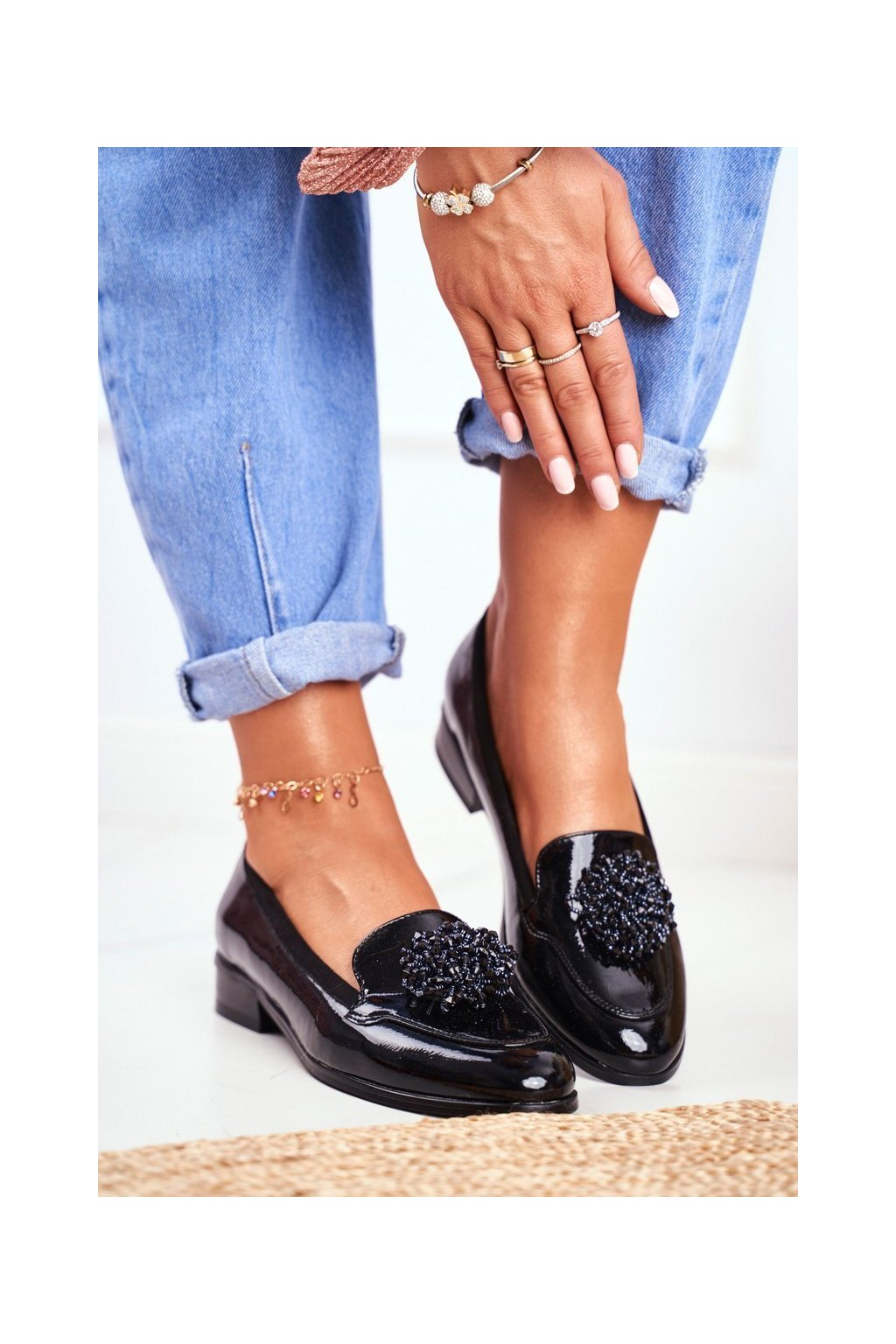 Dámske poltopánky farba čierna kód obuvi 20-10527 BLK