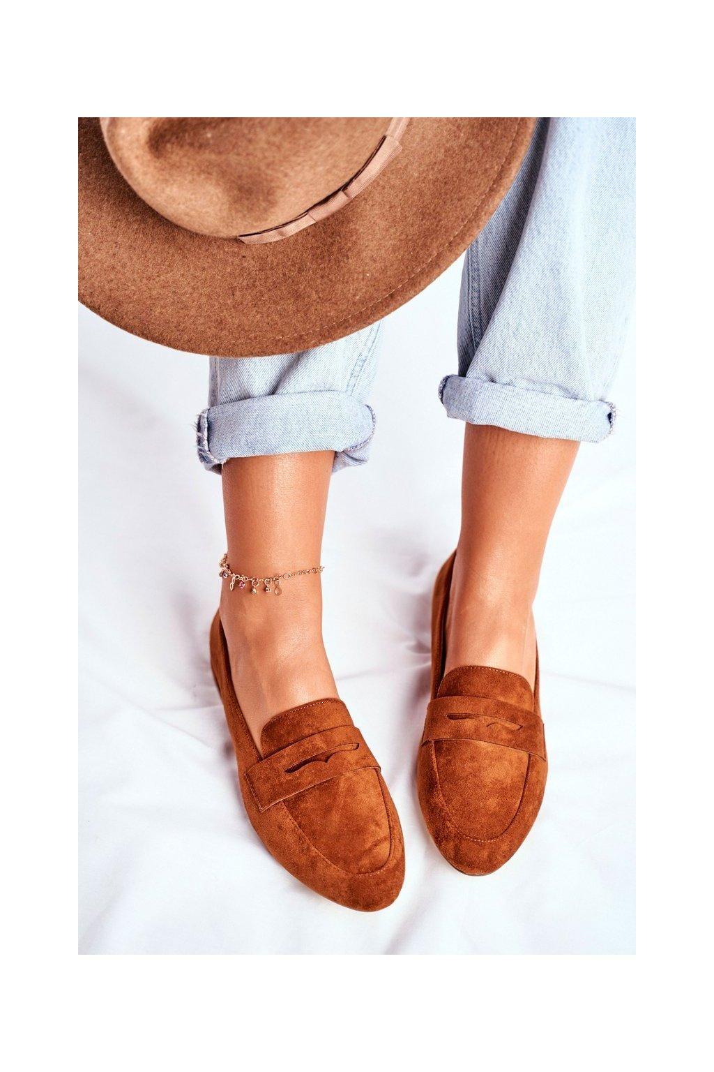 Dámske mokasíny farba hnedá kód obuvi MK734 CAMEL MIC
