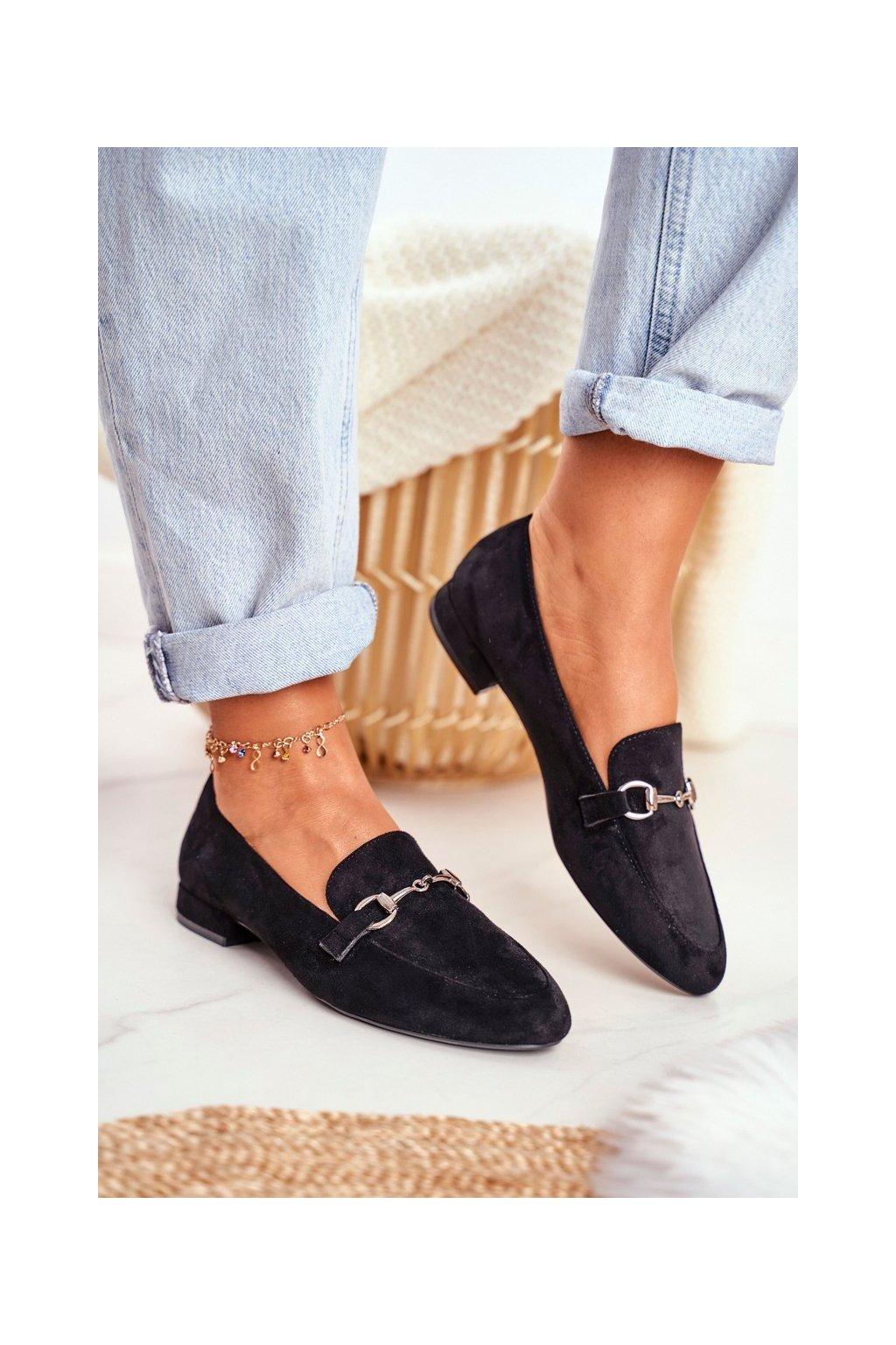 Dámske mokasíny farba čierna kód obuvi MK733 BLK MIC