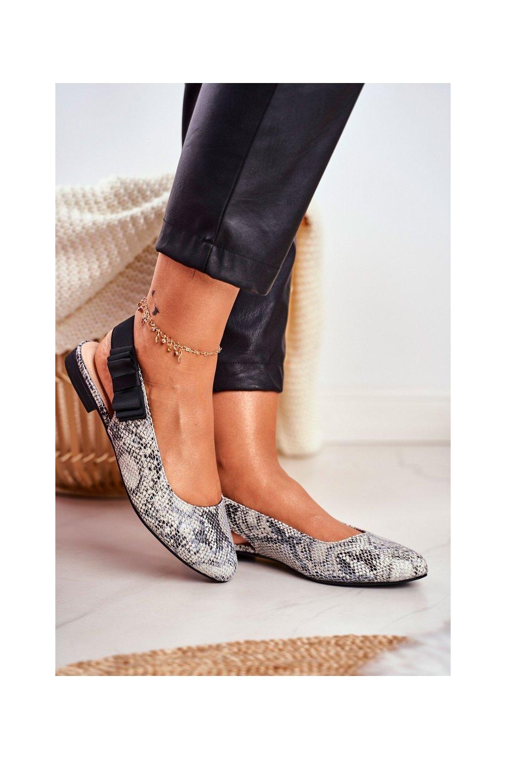 Dámske balerínky farba čierna kód obuvi BL615 GREY SNAKE