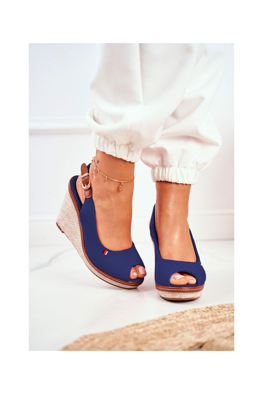 Dámske Sandále na platforme tmavo modré Tommy