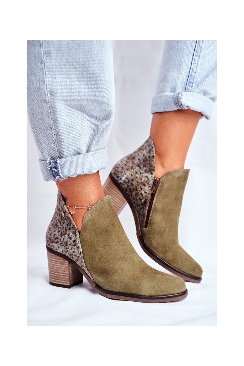Členkové topánky na podpätku farba zelená kód obuvi 04492-24/00-5 OLIWKA