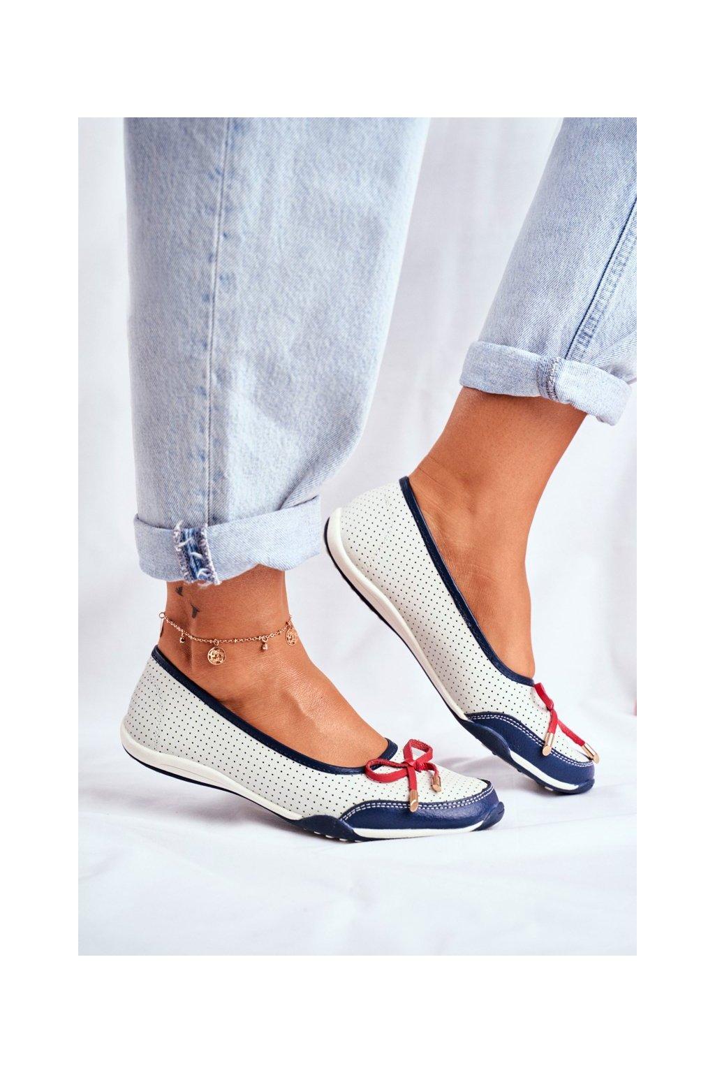 Dámske balerínky farba biela kód obuvi 8BL08-4005 WHITE/RED