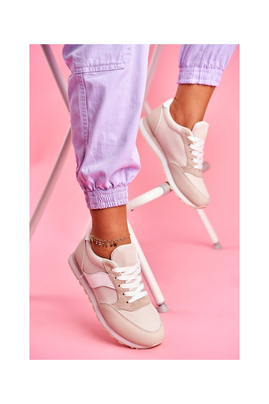 Dámske tenisky farba hnedá kód obuvi BL189 BEIGE
