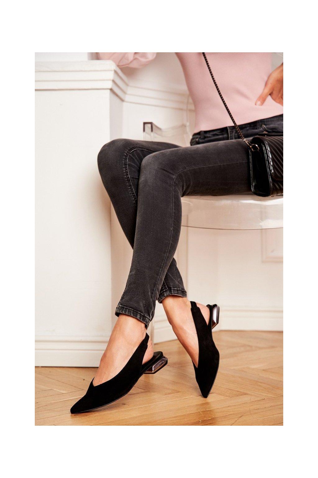 Dámske balerínky farba čierna kód obuvi 2127 081 BLK