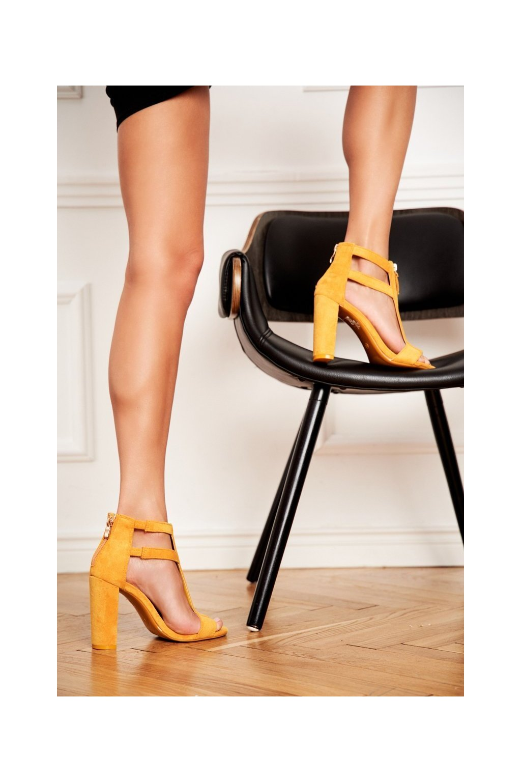 Dámske sandále na podpätku farba žltá kód obuvi LE070P YELLOW