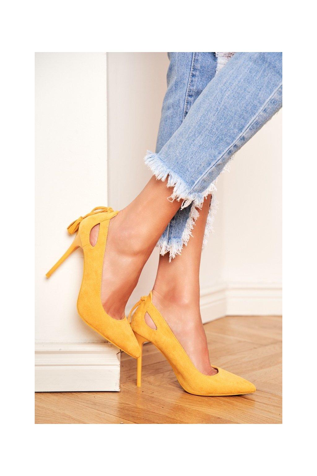 Dámske lodičky farba žltá kód obuvi LE072P YELLOW