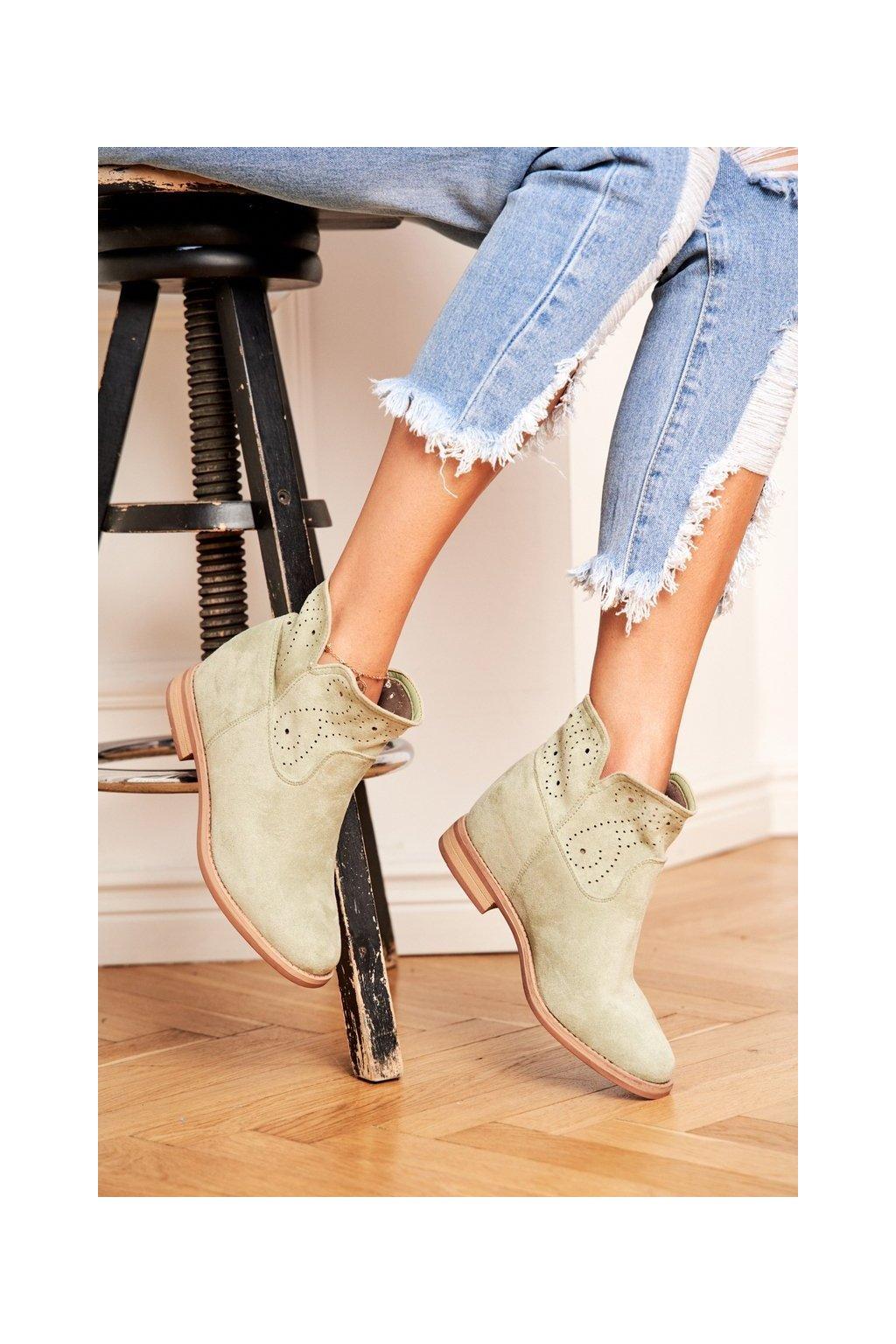 Dámske členkové topánky na nízkem podpatku Semišové Zelené Raffe