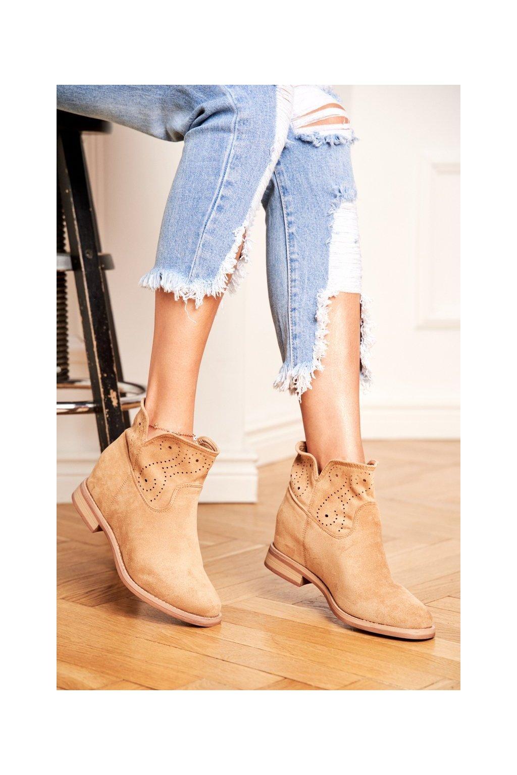 Dámske členkové topánky na nízkem podpatku Semišové Béžové Raffe