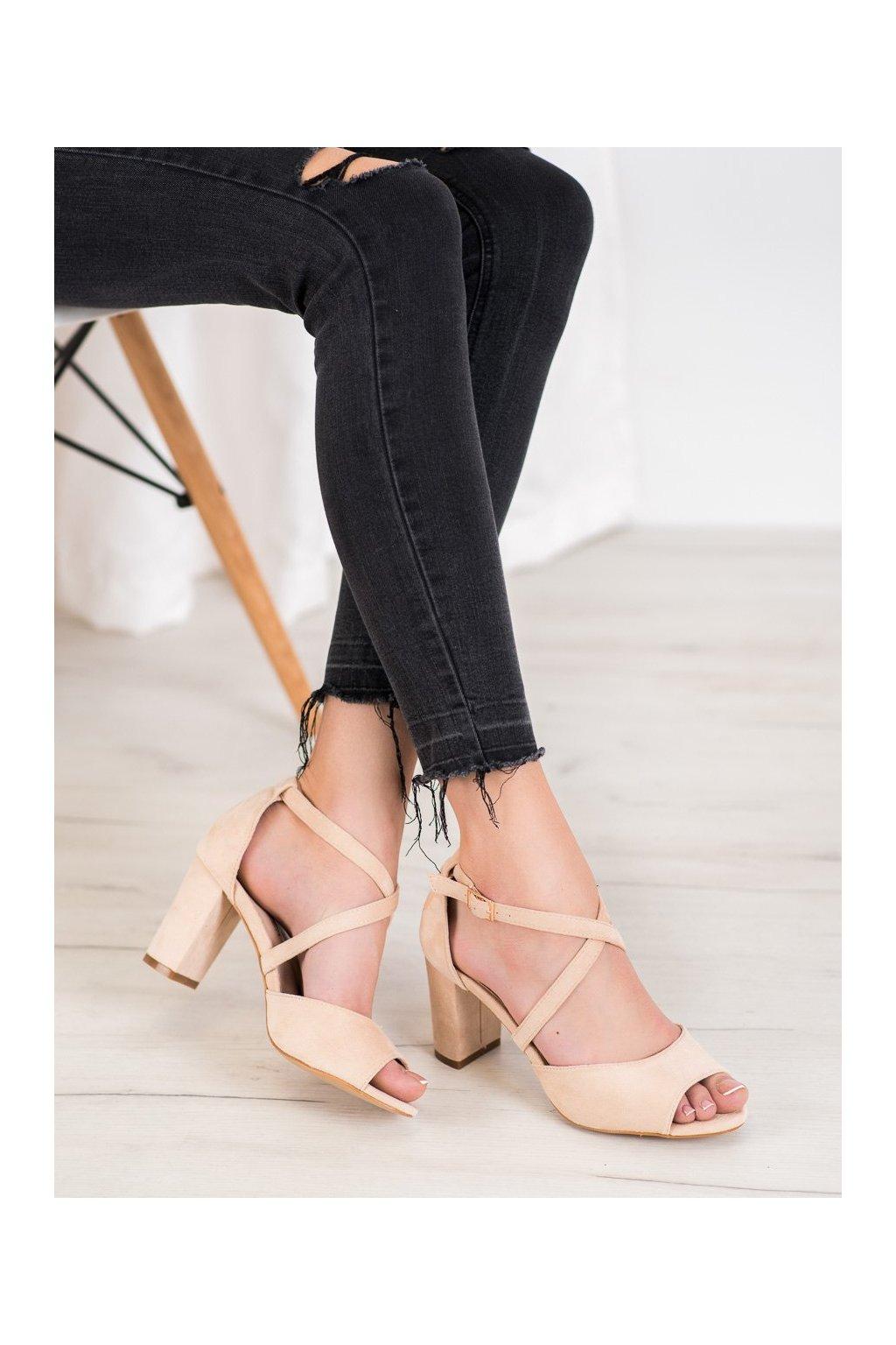 Hnedé sandále na podpätku Vinceza kod YQE20-17086BE