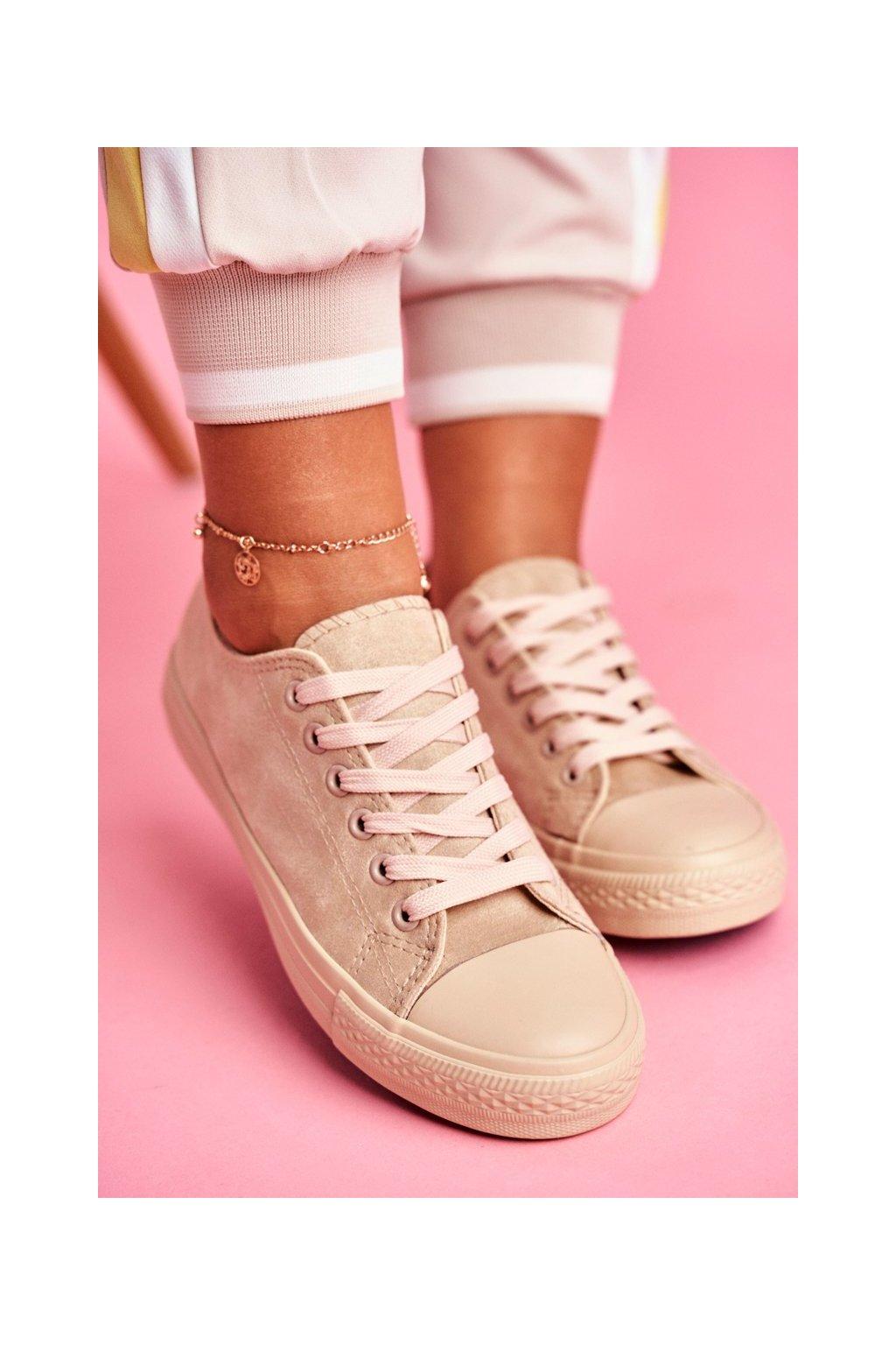 Dámske tenisky farba hnedá kód obuvi 666-6 BEIGE