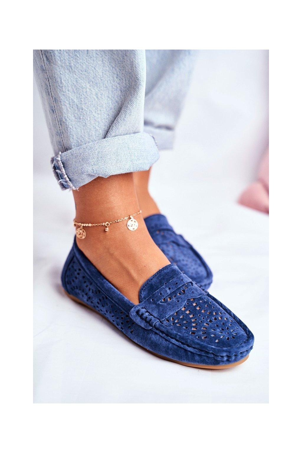 Dámske mokasíny farba modrá kód obuvi LR92309 NAVY