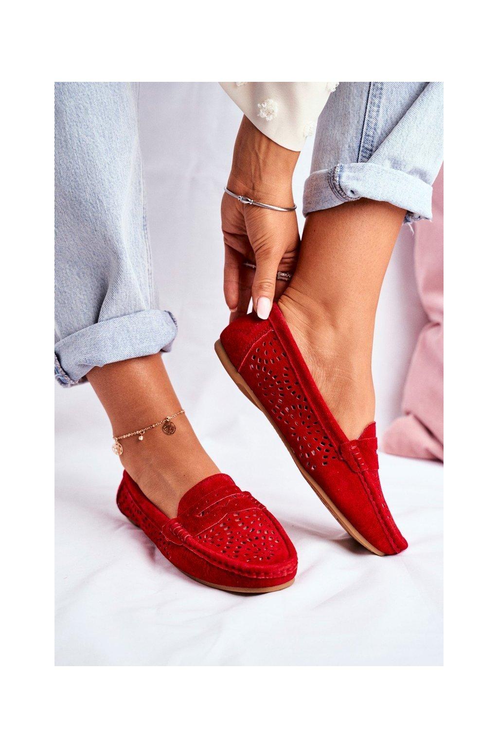 Dámske mokasíny farba červená kód obuvi LR92309 RED