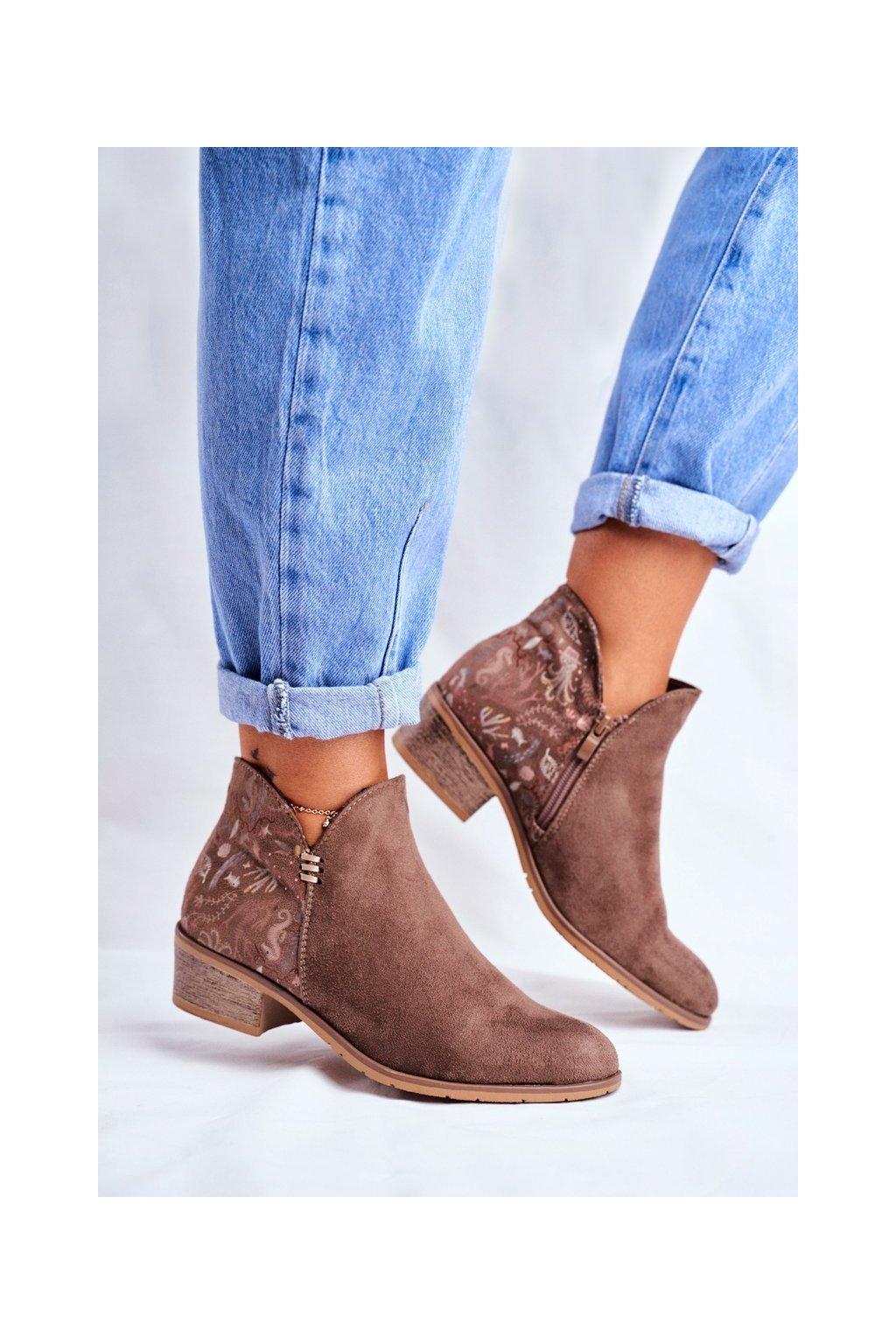 Dámske členkové topánky na nízkem podpatku jarné Hnedé Elizabeth