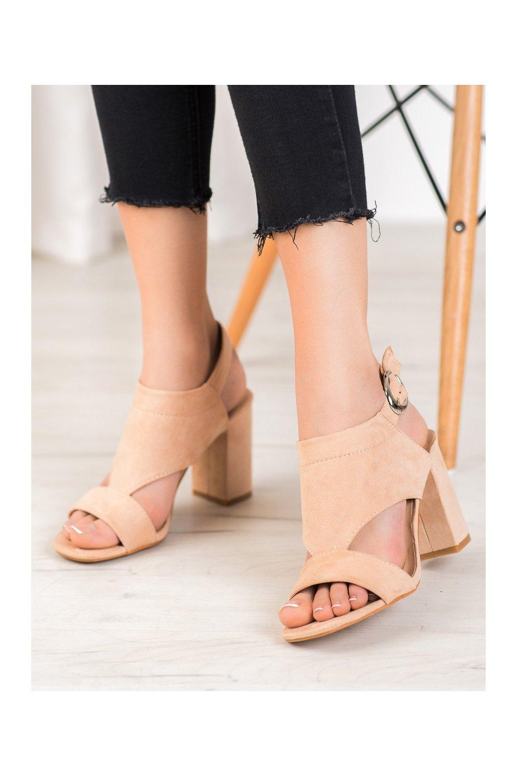 Hnedé sandále na podpätku Vinceza kod YQE20-17053BE