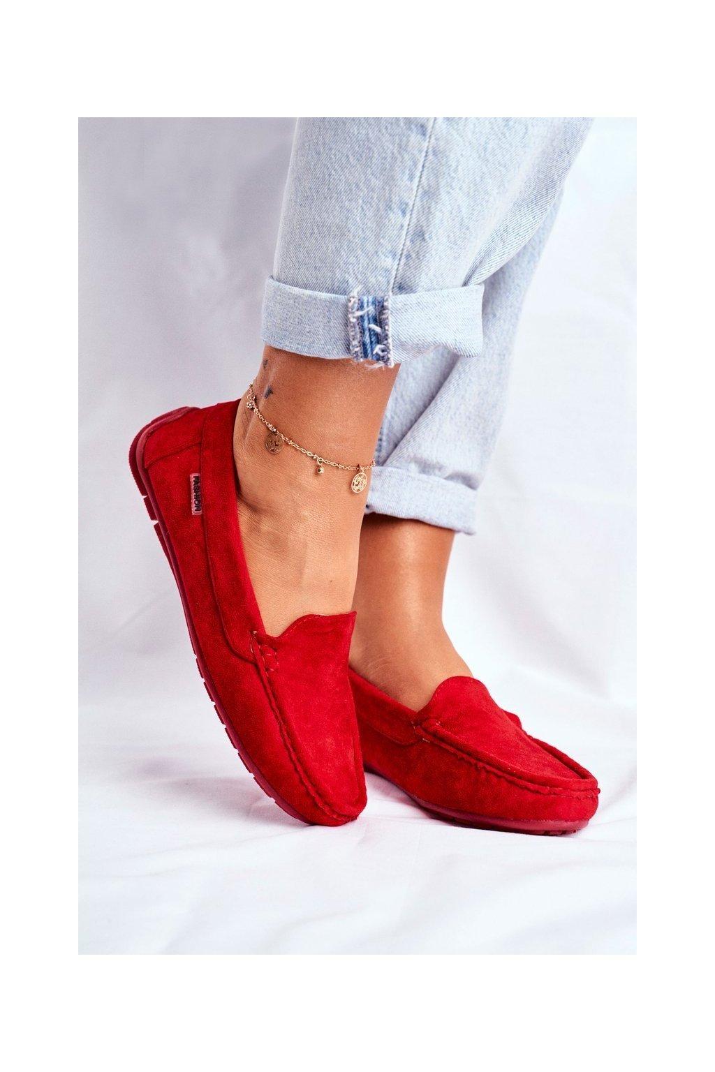 Dámske mokasíny farba červená kód obuvi 20PB26-2190 RED