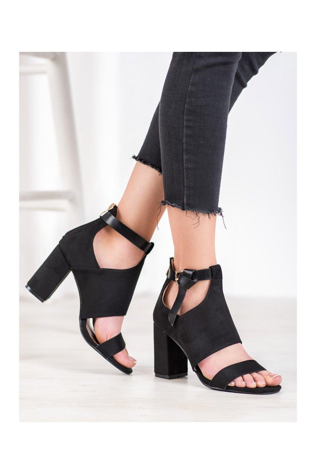 Čierne sandále na podpätku Vinceza kod YQE20-17054B