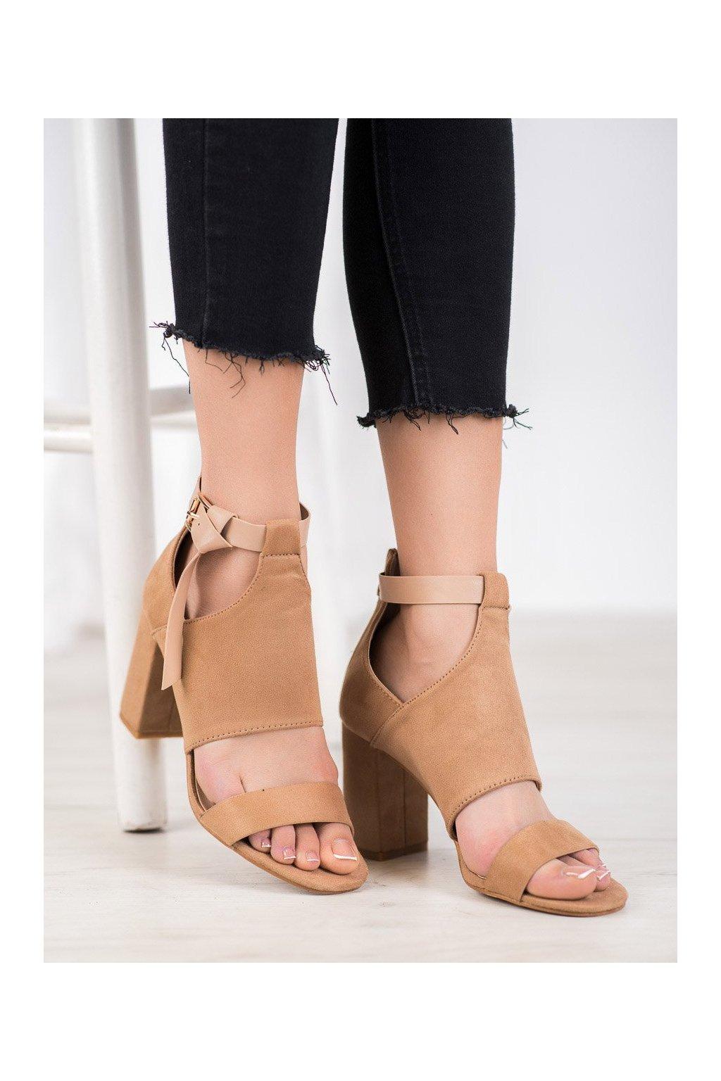 Hnedé sandále na podpätku Vinceza kod YQE20-17054BE