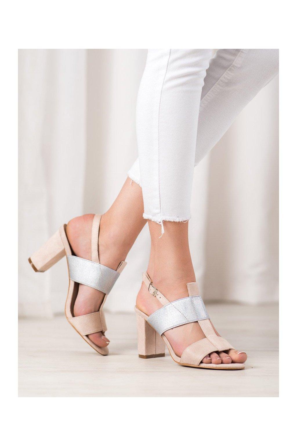 Sivé sandále na podpätku Vinceza kod YQE20-17088BE