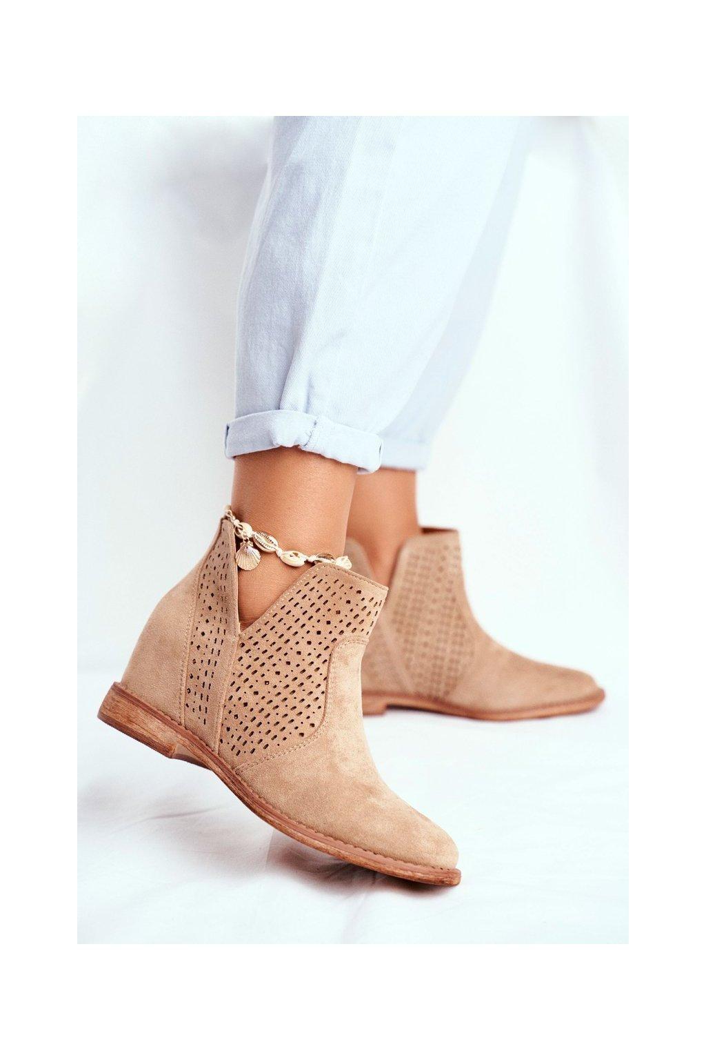 Dámske členkové topánky Semišové Béžové Shades