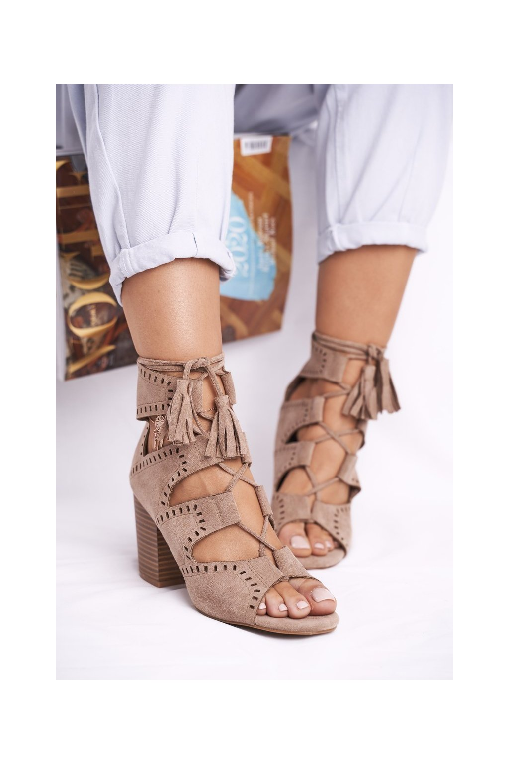 Dámske členkové topánky na podpätku Semišové Béžové Empty