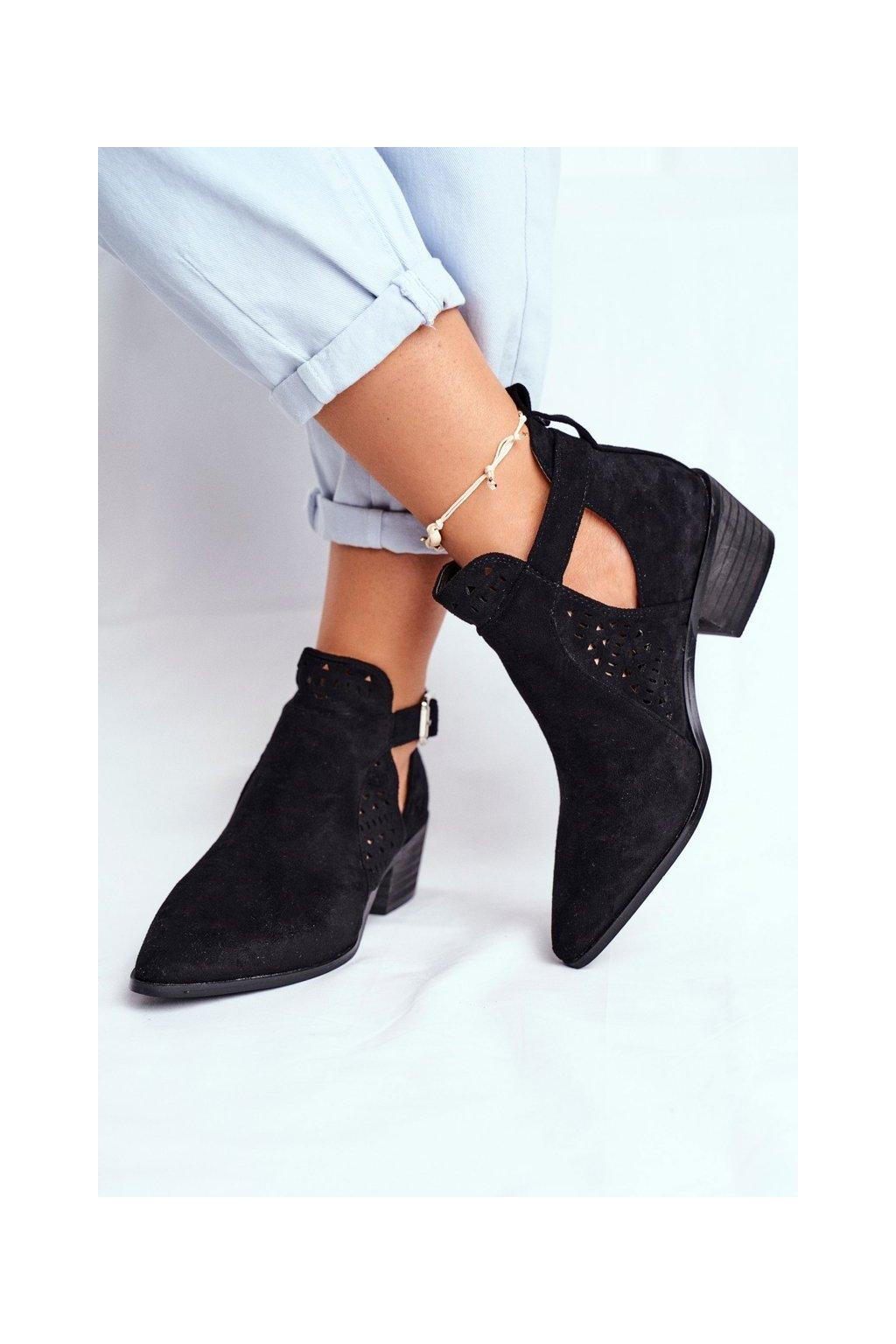 Dámske jarné topánky na podpätku Semišové čierne Rita
