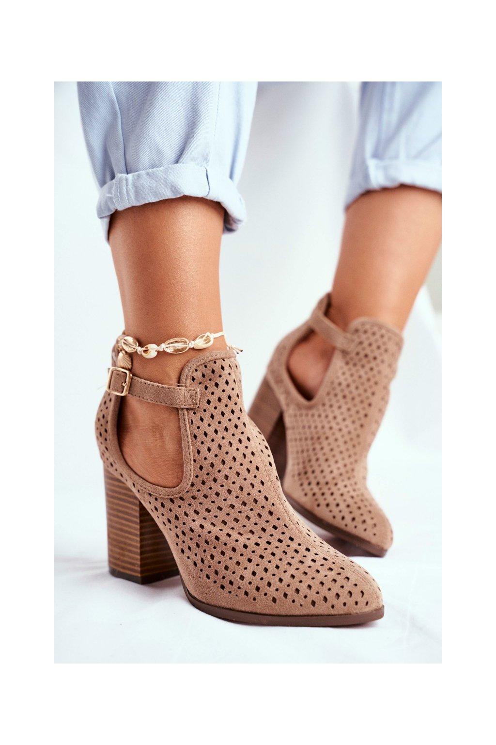 Dámske členkové topánky na podpätku Béžové Morrena